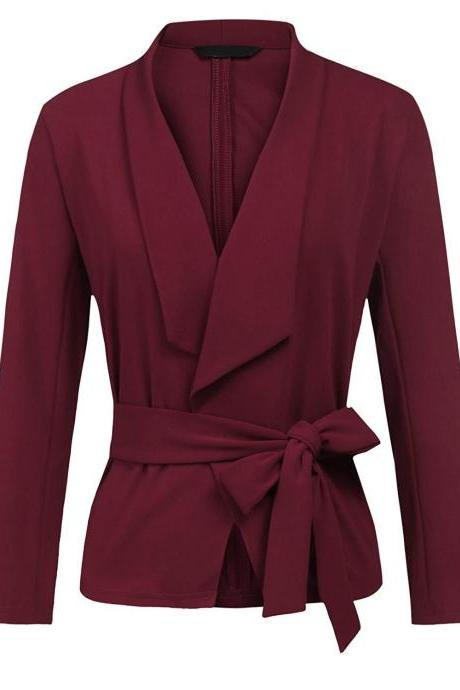 Women Blazer Coat Autumn Long Sleeve Belted Casual Work Office Lady Slim Suit Jacket wine red
