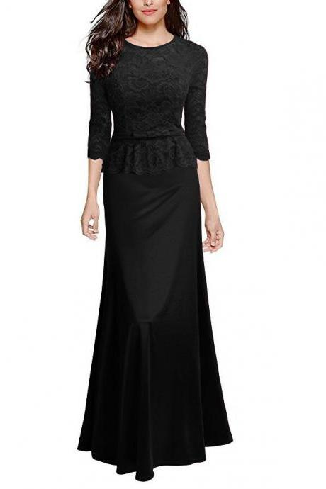 Women Floral Lace Maxi Dress 3/4 Sleeve Slim Peplum Long Evening Party Bridesmaid Dress black