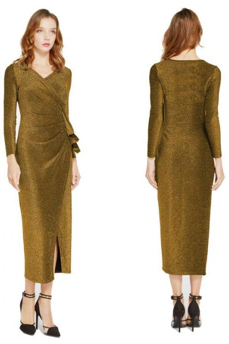 Women Wrap Dress V-Neck Long Sleeve Split Casual Midi Bodycon Pencil Club Party Dress gold