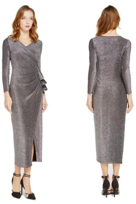 Women Wrap Dress V-Neck Long Sleeve Split Casual Midi Bodycon Pencil Club Party Dress gray