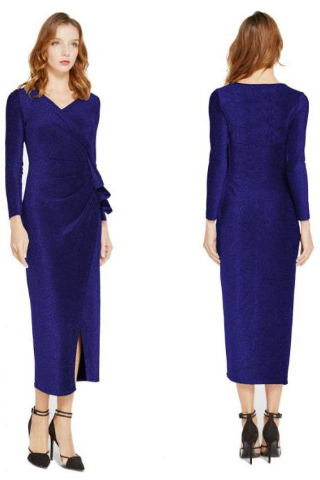 Women Wrap Dress V-Neck Long Sleeve Split Casual Midi Bodycon Pencil Club Party Dress royal blue