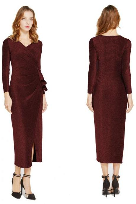 Women Wrap Dress V-Neck Long Sleeve Split Casual Midi Bodycon Pencil Club Party Dress wine red