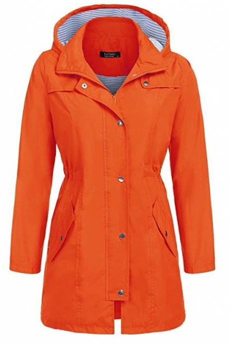 Women Casual Coat Spring Autumn Slim Hooded Waterproof Raincoat Long Jacket Windbreaker orange