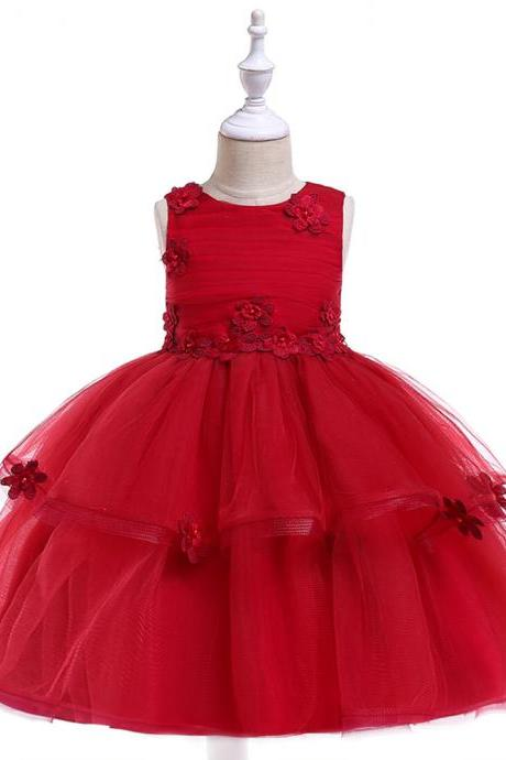 Lace Flower Girl Dress Sleeveless Wedding Formal Birthday Party Tutu Gown Children Clothes crimson