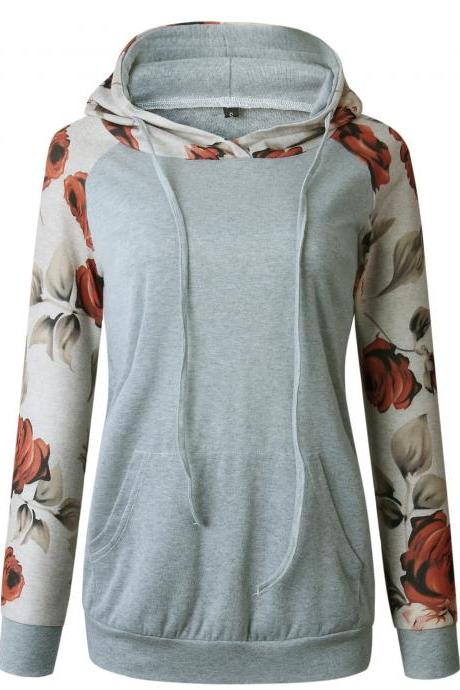 Women Hoodies Autumn Floral Printed Patchwork Long Sleeve Drawstring Hooded Casual Sweatshir gray