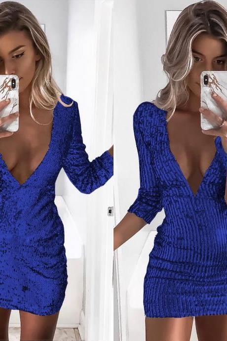 Women Sequin Dress Sexy Deep V Neck Long Sleeve Bodycon Mini Night Club Party Dress blue