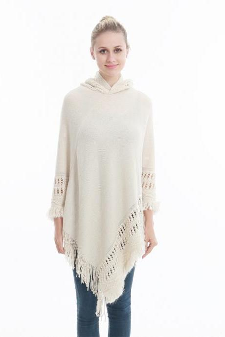 Women Tassel Cape Coat Autumn Winter Knitted Hollow out Hooded Fringe Poncho Asymmetrical Tops beige