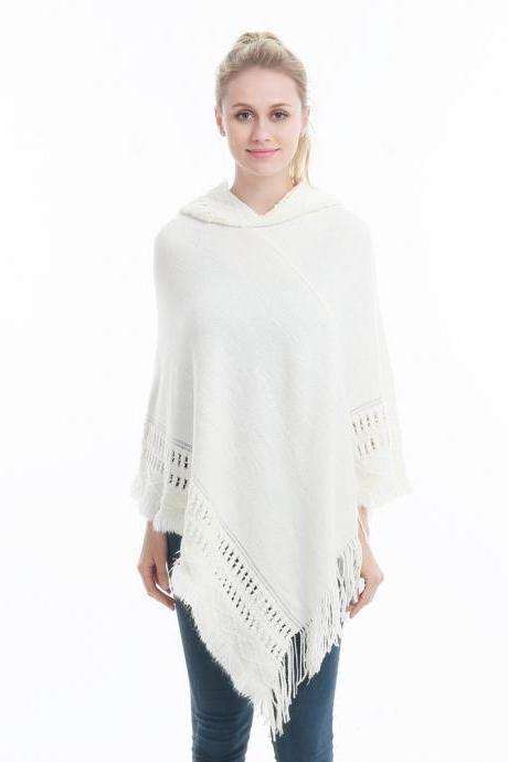 Women Tassel Cape Coat Autumn Winter Knitted Hollow out Hooded Fringe Poncho Asymmetrical Tops off white