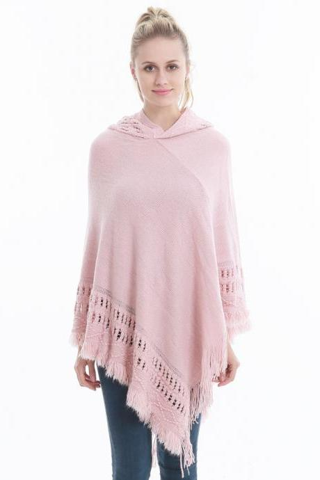 Women Tassel Cape Coat Autumn Winter Knitted Hollow out Hooded Fringe Poncho Asymmetrical Tops pink