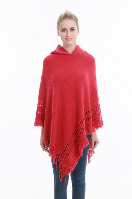Women Tassel Cape Coat Autumn Winter Knitted Hollow out Hooded Fringe Poncho Asymmetrical Tops red