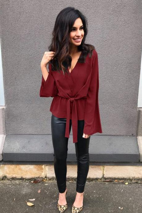 Women Blouse Autumn Elegant V-Neck Long Flare Sleeve Bow Tie CasualBandage Tops Shirt crimson