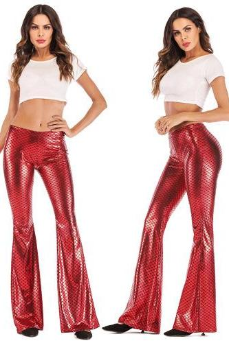 Women Fish Scale Printed Flare Pants Autumn High Waist Casual Fashion Streetwear Skinny Trousers red