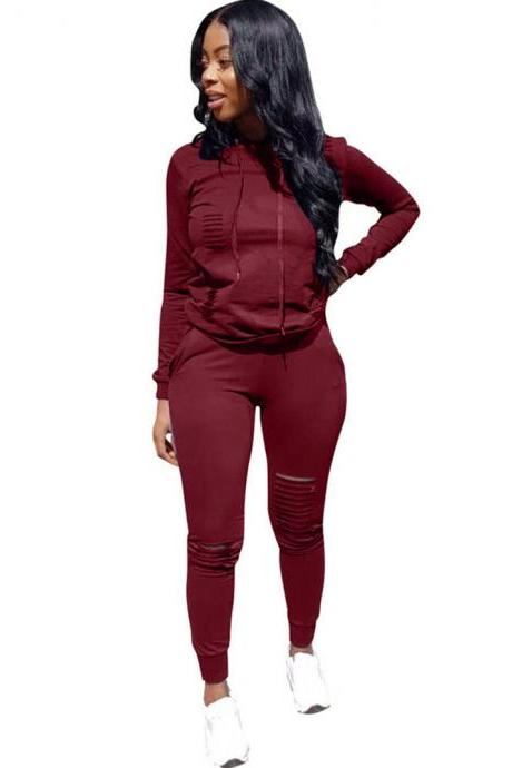Women Tracksuit Autumn Long Sleeve Hoodies+Pants Two Pieces Sets Sportswear Suit wine red