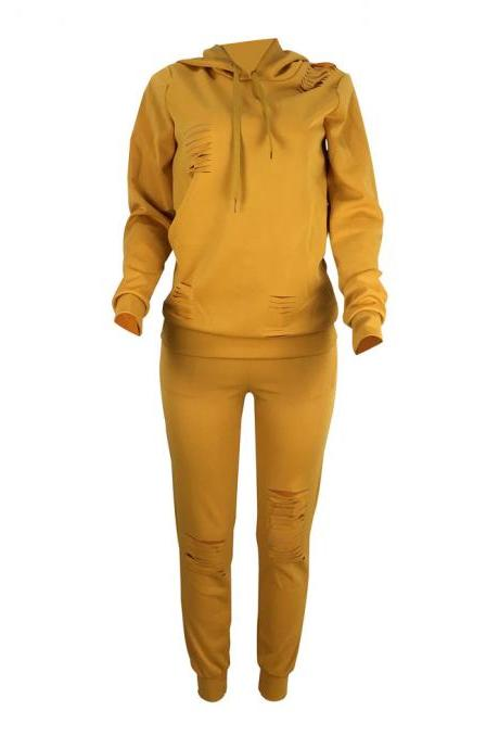 Women Tracksuit Autumn Long Sleeve Hoodies+Pants Two Pieces Sets Sportswear Suit yellow