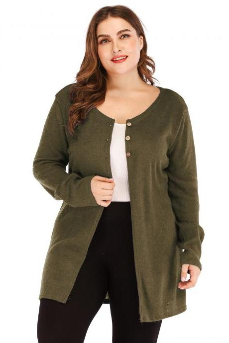 Women Cardigan Coat Autumn Long Sleeve Button Casual Basic Plus Size Jacket army green