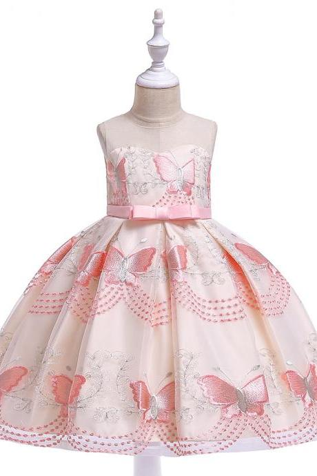 Butterfly Embroidery Flower Girls Dress Princess Party Pageant Formal Birthday Gown Kids Children Clothes pink