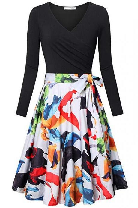 Women Floral Printed Dress V Neck Long Sleeve Patchwork Casual A Line Work Office Party Dress black+white leaf