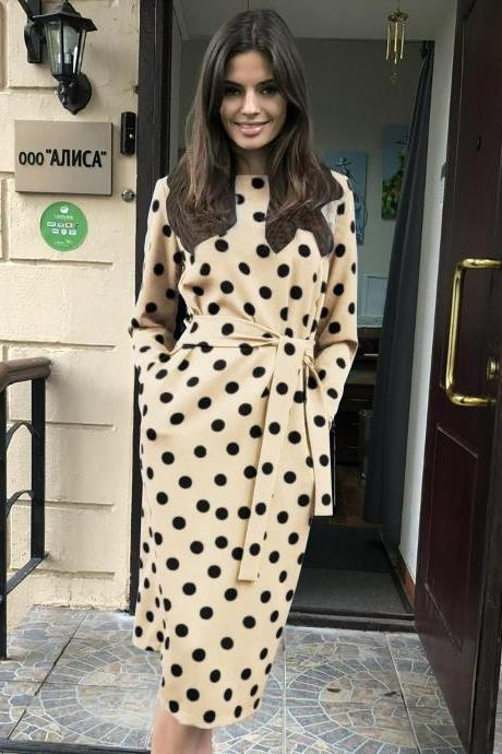 Women Polka Dot Dress Autumn Winter Long Sleeve Belted Pockets Casual Slim Midi Dress khaki
