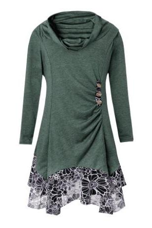 Women Asymmetrical Dress Autumn Long Sleeve Patchwork Lace Button Plus Size Casual Dress army greeen