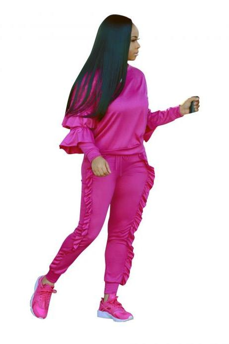 Women Tracksuit Ruffles Top+Long Pants Two Pieces Set Casual Nightclub Party Overalls hot pink