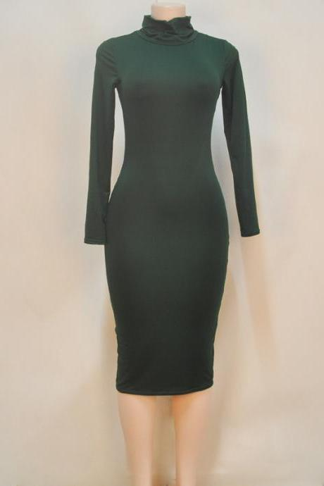 Women Midi Pencil Dress Autumn Turtleneck Long Sleeve Solid Bodycon Night Club Party Dress green