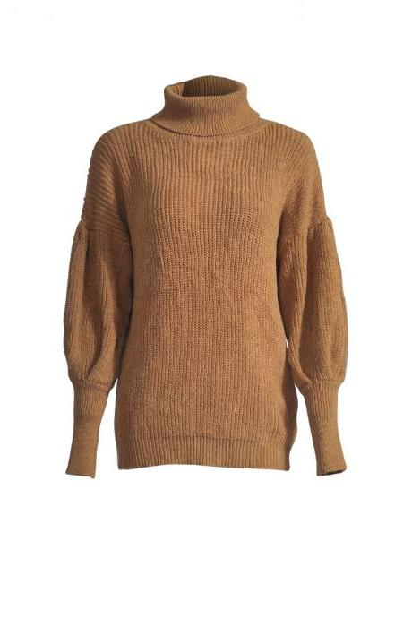 Women Knitted Sweater Autumn Winter Turtleneck Long Sleeve Casual Loose Pullover Tops coffee