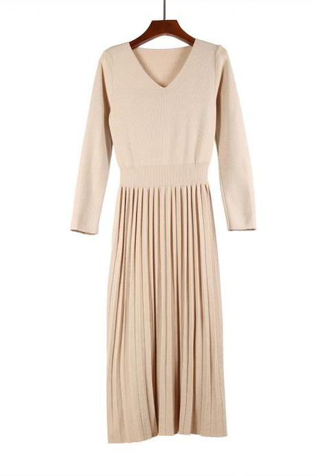 Women Sweater Dress Autumn Winter V Neck Long Sleeve Slim Pleated Elastic Casual Midi Knitted Dress apricot
