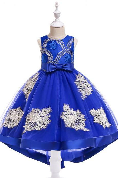 High Low Flower Girl Dress Embroidery Trailing Lace Formal Birthday Party Gowns Children Kids Clothes royal blue