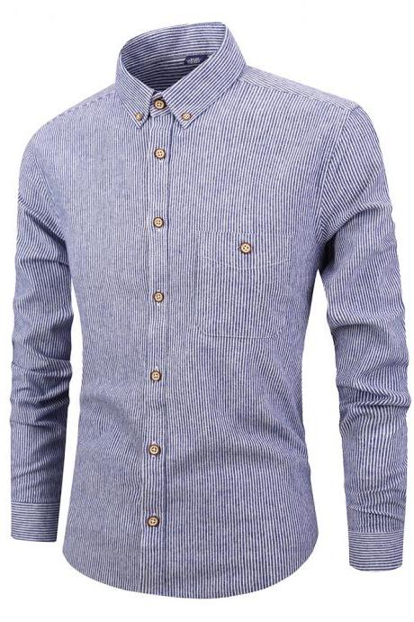 Men Striped Shirt Fashion Long Sleeve Turn-down Collar Button Casual Slim Fit Business Shirt blue