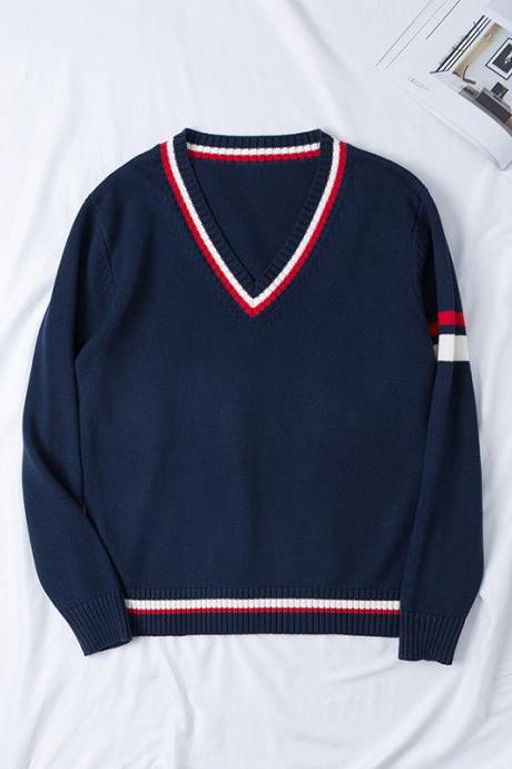 Japanese School JK Uniform Sweater Autumn Winter Couples Lovers Unisex Warm V Neck Long Sleeve Pullover Tops navy blue