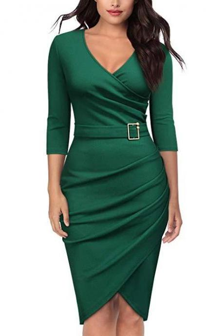 Women Pencil Dress V Neck 3/4 Sleeve Belted Sheath Bodycon Work Club Party Dress green