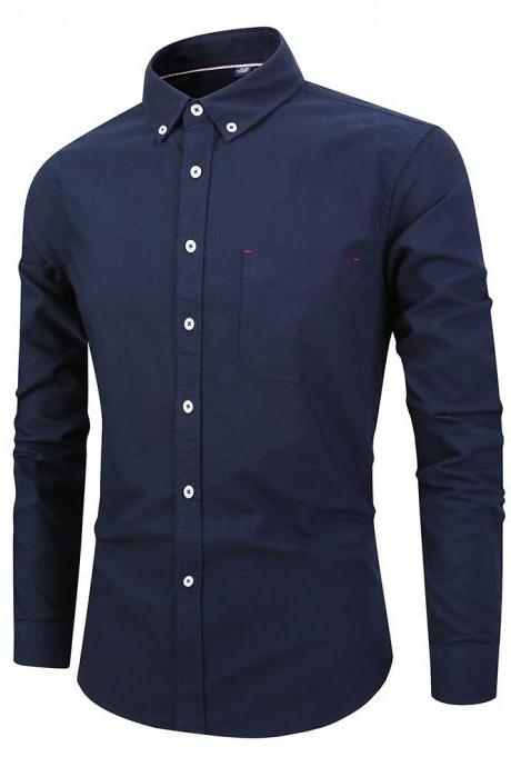 Men Shirt Fashion Long Sleeve Turn-down Collar Button Solid Cotton Casual Slim Fit Business Shirt navy blue