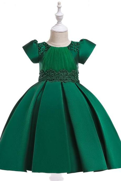 Beaded Flower Girl Dress Short Sleeve Wedding Formal Princess Perform Party Gown Children Kids Clothes hunter green
