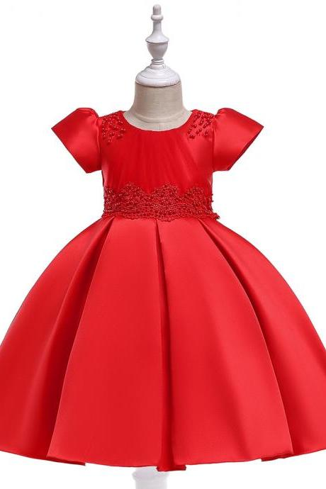 Beaded Flower Girl Dress Short Sleeve Wedding Formal Princess Perform Party Gown Children Kids Clothes red