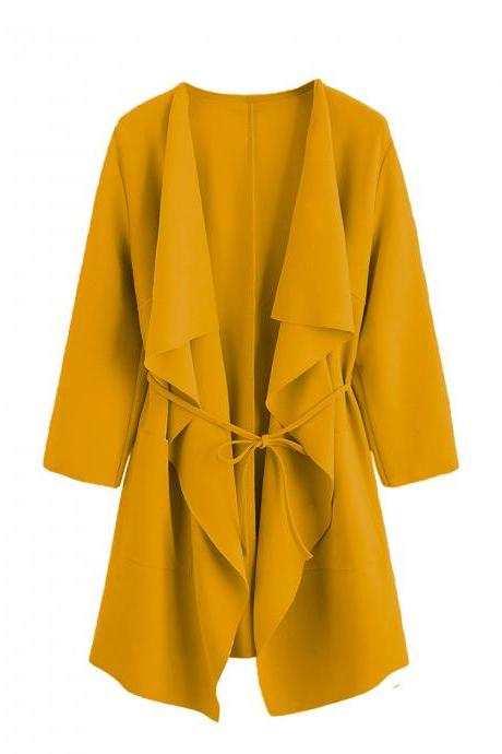 Women Trench Coat Spring Autumn 3/4 Sleeve Belted Open Stitch Streetwear Casual Jacket Outerwear yellow