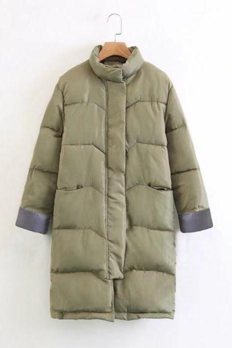 Women Down Cotton Coat Autumn Winter Warm Parka Long Sleeve Casual Loose Long Jacket Outerwear army green