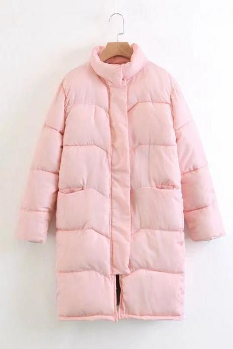 Women Down Cotton Coat Autumn Winter Warm Parka Long Sleeve Casual Loose Long Jacket Outerwear pink