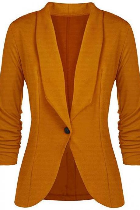 Women Blazer Coat Autumn Long Sleeve Single Button Office OL Business Slim Suit Jacket yellow