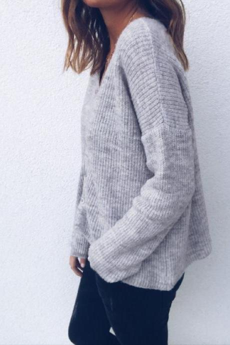 Women Knitted Sweater Autumn V Neck Long Sleeve Buttons Casual Loose Cardigan Tops gray