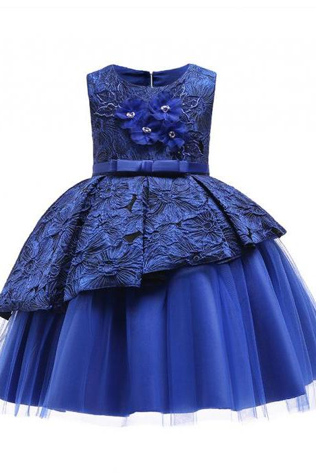 Floral Lace Flower Girl Dress Backless Formal Birthday Princess Party Gown Children Kids Clothes royal blue