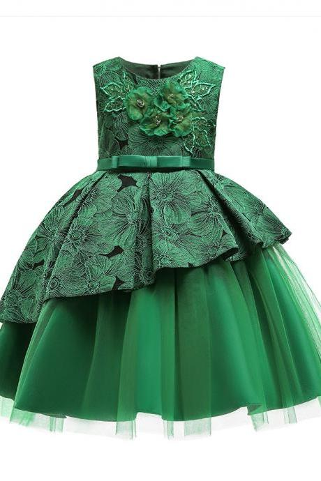 Floral Lace Flower Girl Dress Backless Formal Birthday Princess Party Gown Children Kids Clothes green