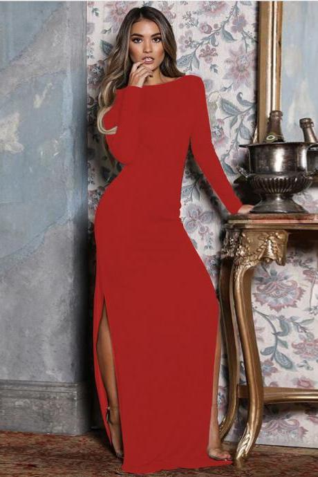 Women Slim Maxi Dress Sexy Long Sleeve Backless Split Bodycon Long Night Club Party Dress red