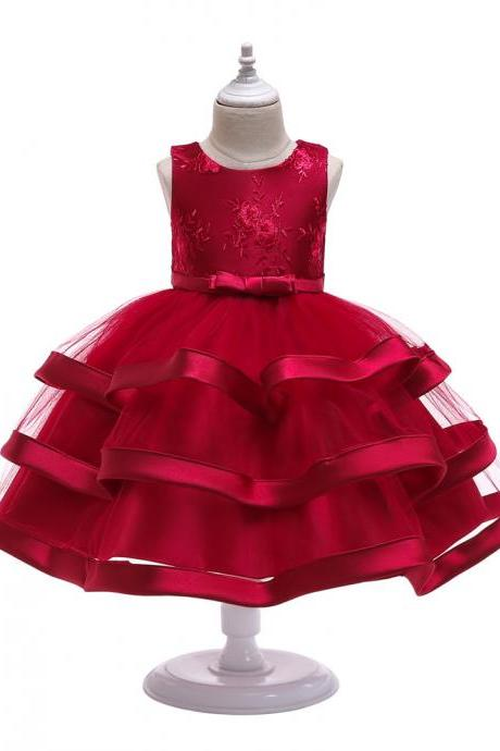 Lace Flower Girl Dress Layered Wedding Formal Perform Princess Party Tutu Gown Children Clothes crimson