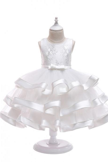 Lace Flower Girl Dress Layered Wedding Formal Perform Princess Party Tutu Gown Children Clothes off white