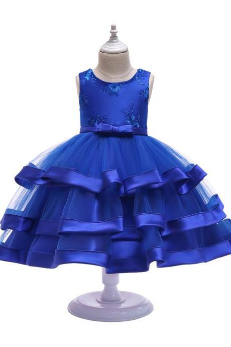 Lace Flower Girl Dress Layered Wedding Formal Perform Princess Party Tutu Gown Children Clothes royal blue