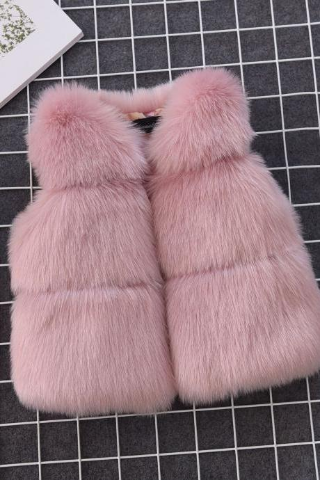 Kids Faux Fur Waistcoat Autumn Winter Thick Warm Baby Vest Girls Children Sleeveless Coat Outerwear Lotus pink