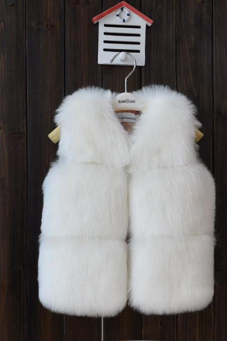 Kids Faux Fur Waistcoat Autumn Winter Thick Warm Baby Vest Girls Children Sleeveless Coat Outerwear off white