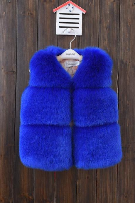 Kids Faux Fur Waistcoat Autumn Winter Thick Warm Baby Vest Girls Children Sleeveless Coat Outerwear royal blue