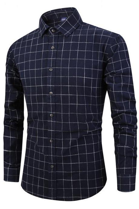 Men Plaid Shirt Spring Autumn Single Breasted Long Sleeve Cotton Slim Fit Casual Shirt navy blue
