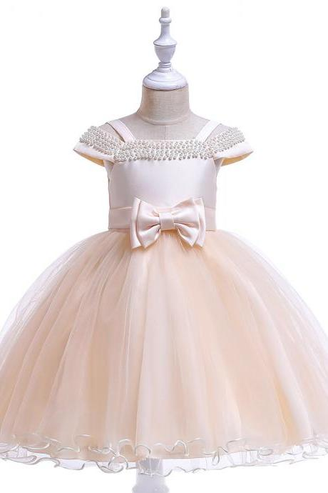Off the Shoulder Flower Girl Dress Beaded Wedding Formal Birthday Princess Party Dress Chidlren Clothes champagne